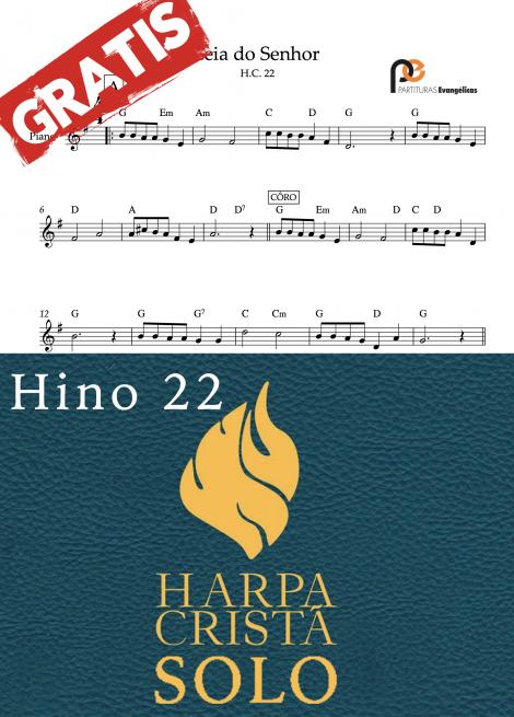 Hino 22 harpa crista Ceia do senhor quarteto de cordas quarteto de metais e solo partituras evangelicas